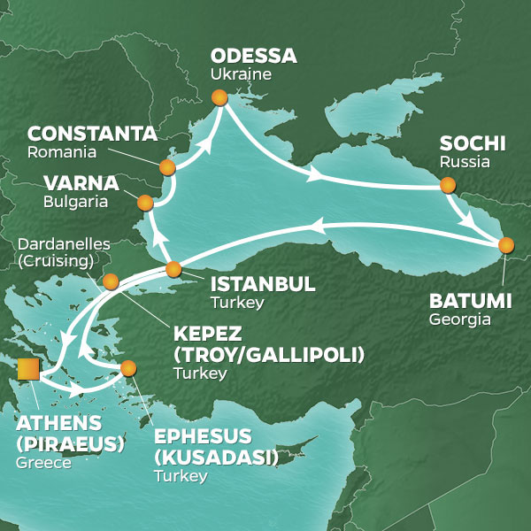 Azamara Cruises | 14-Nights Roundtrip from Athens Cruise Iinerary Map