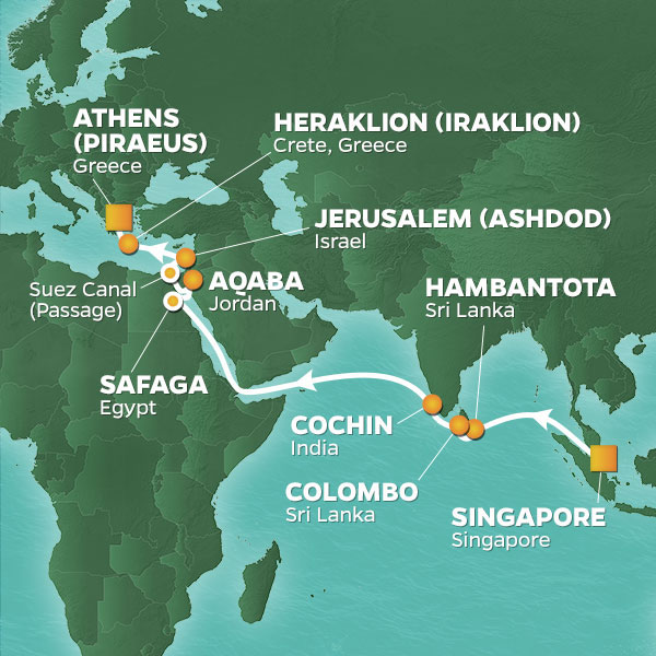 Azamara Cruises | 23-Nights from Singapore to Athens Cruise Iinerary Map