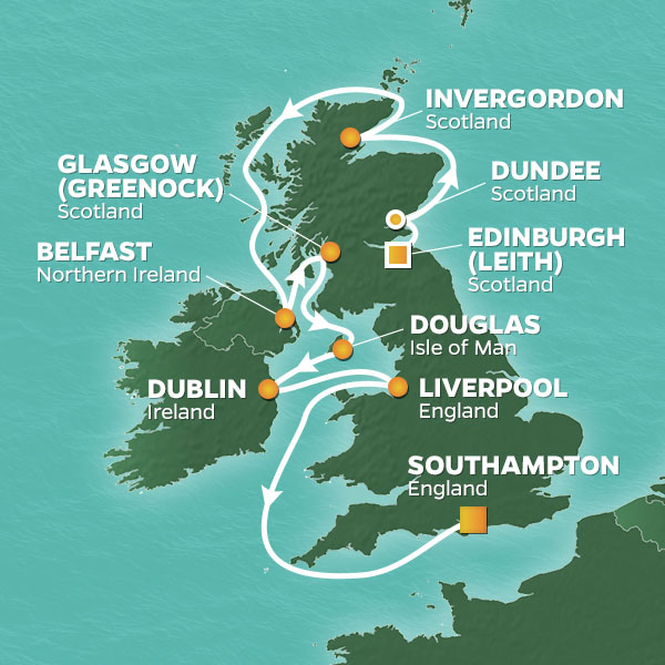 Azamara Cruises | 12-Nights from Edinburgh to Southampton Cruise Iinerary Map