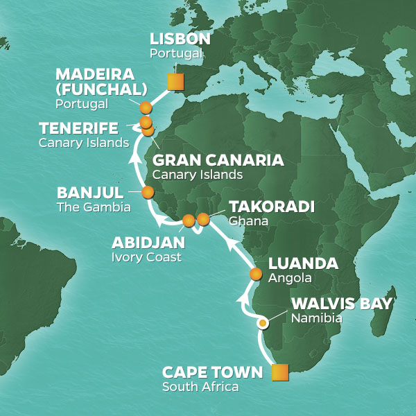 Azamara Cruises | 21-Nights from Cape Town to Lisbon Cruise Iinerary Map