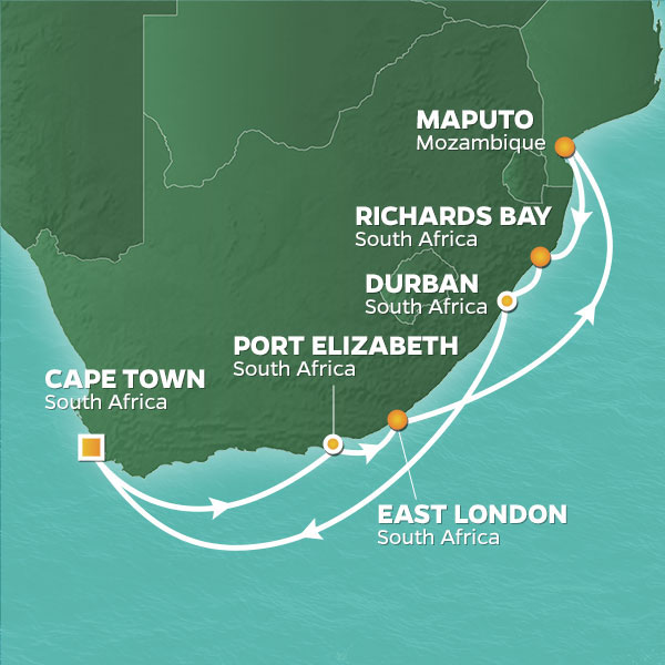 Azamara Cruises | 14-Nights Roundtrip from Cape Town Cruise Iinerary Map