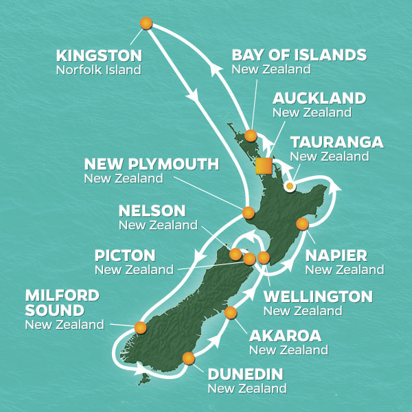 Azamara Cruises | 16-Nights Roundtrip from Auckland Cruise Iinerary Map