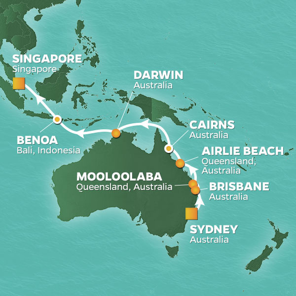 Azamara Cruises | 18-Nights from Sydney to Singapore Cruise Iinerary Map