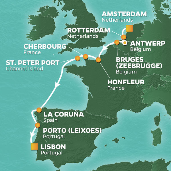 Azamara Cruises | 11-Nights from Amsterdam to Lisbon Cruise Iinerary Map