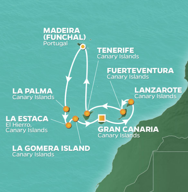 Detailed map of voyage route