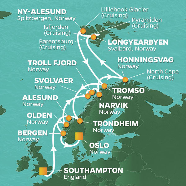 Azamara Cruises | 18-Nights from Southampton to Oslo Cruise Iinerary Map