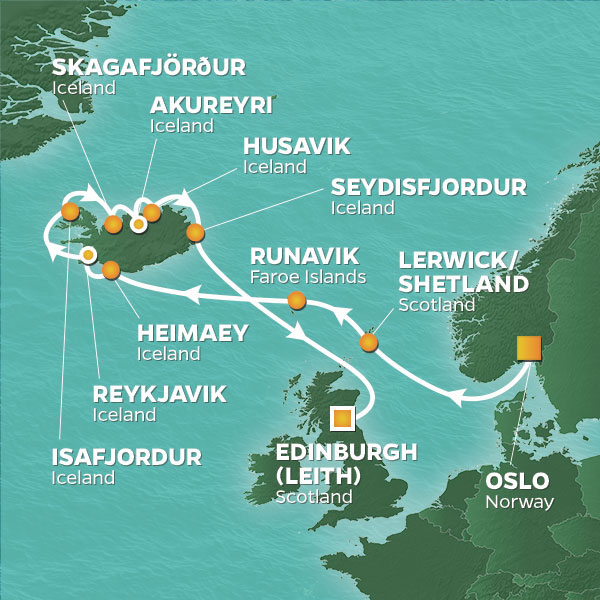 Azamara Cruises | 16-Nights from Oslo to Edinburgh Cruise Iinerary Map