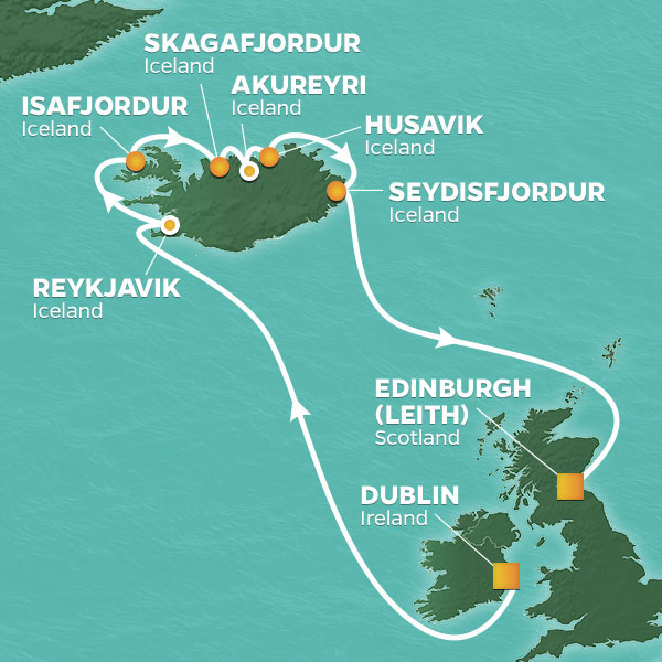 Azamara Cruises | 13-Nights from Dublin to Edinburgh Cruise Iinerary Map