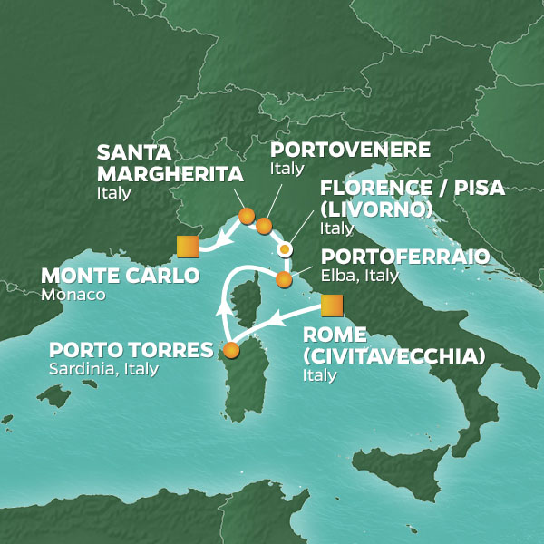Azamara Cruises | 7-Nights from Rome to Monte-Carlo Cruise Iinerary Map