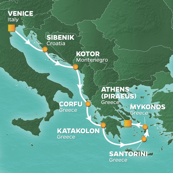 Azamara Cruises | 7-Nights from Venice to Athens Cruise Iinerary Map