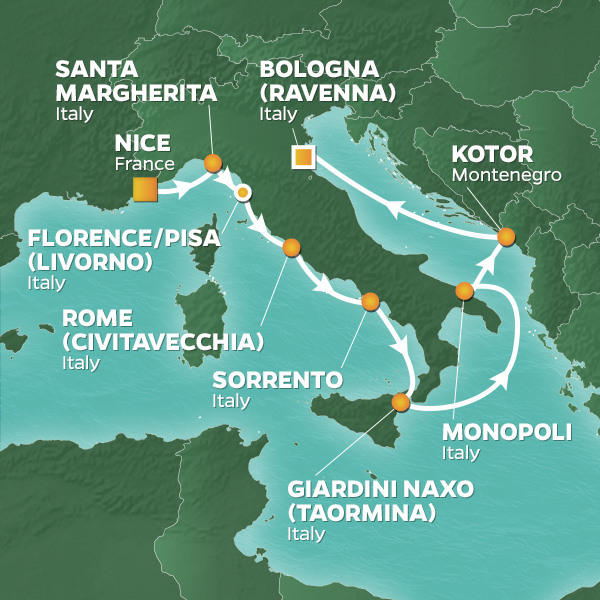Azamara Cruises | 11-Nights from Genoa -  italy to Venice Cruise Iinerary Map