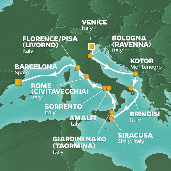Azamara Cruises | 13-Nights from Venice to Barcelona Cruise Iinerary Map