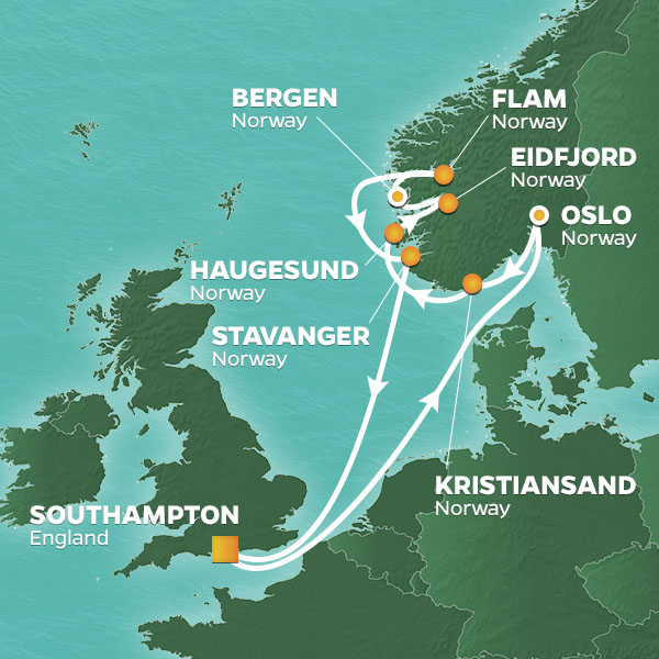 Norway Intensive Voyage cruise itinerary map
