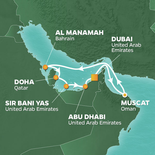 Azamara Cruises | 10-Nights Roundtrip from Dubai Cruise Iinerary Map