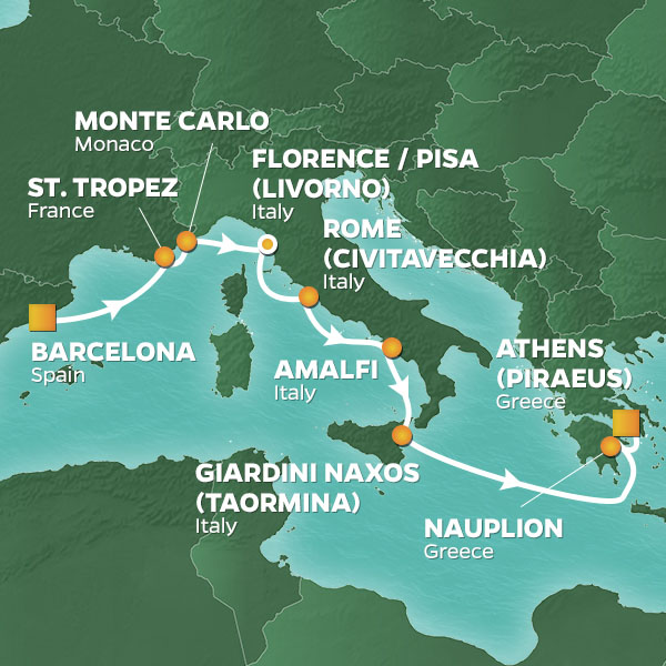 Night Jewels of the Mediterranean cruise itinerary map, Barcelona to Athens
