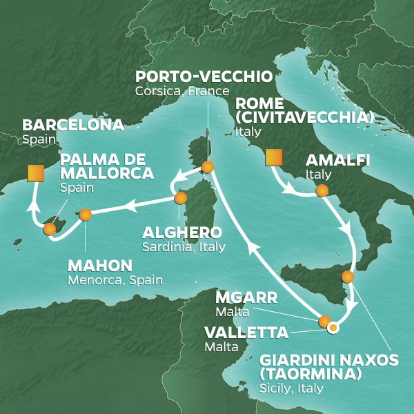 Islands of the Mediterranean cruise itinerary map, from Rome to Barcelona