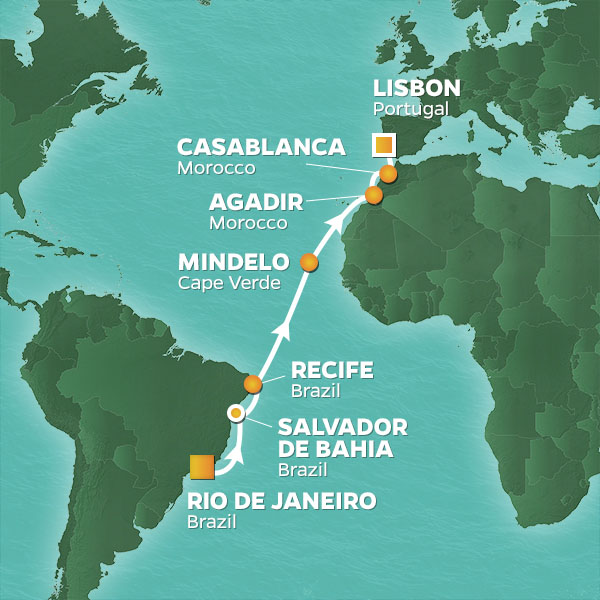 Portuguese Pursuit cruise itinerary map, from Rio de Janeiro to Lisbon