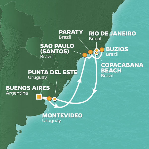 New Year's Eve in Rio cruise itinerary map, from Buenos Aires to Rio de Janeiro