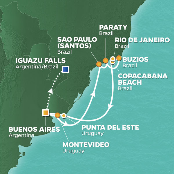 New Year's Eve in Rio cruise itinerary map, Buenos Aires to Rio with an extended stay in Iguazu Falls