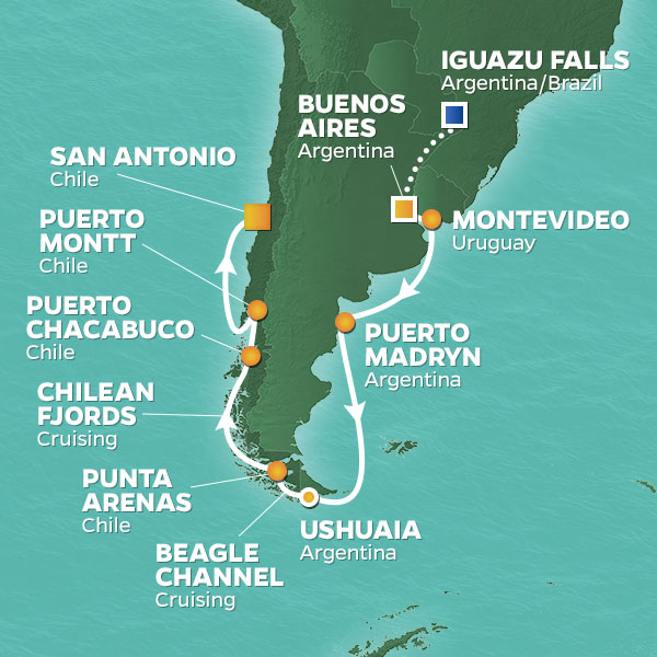 Chile cruise itinerary map, Buenos Aires to San Antonio proceeding an extended stay in Iguazu Falls