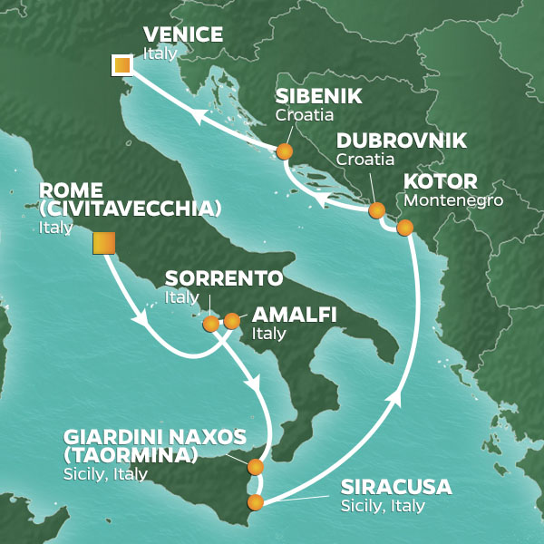 Rome to Venice cruise itinerary map, with stops throughout Italy, Montenegro and Croatia