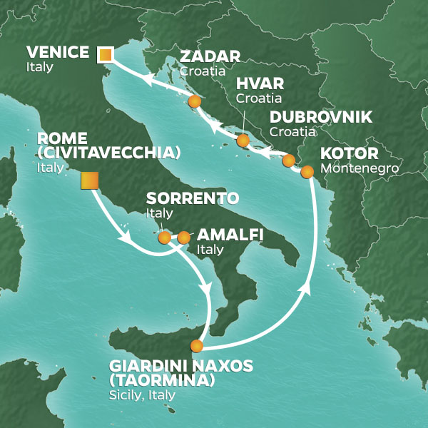 rome to venice map