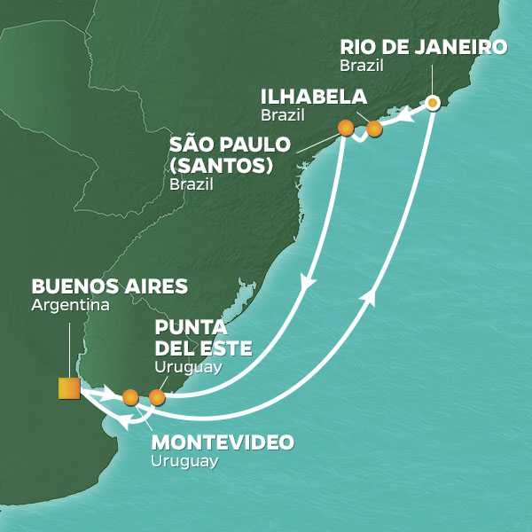 Azamara Cruises | 12-Nights Roundtrip from Buenos Aires Cruise Iinerary Map