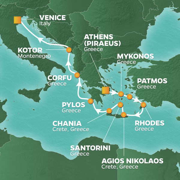Azamara Cruises | 11-Nights from Athens to Venice Cruise Iinerary Map