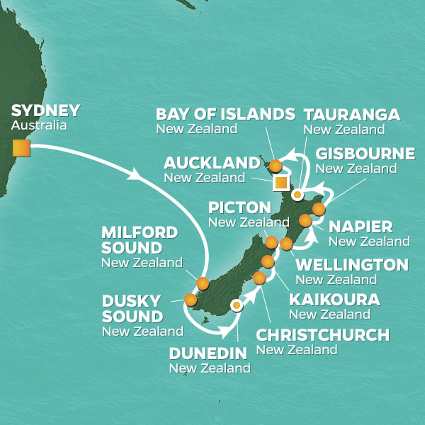 New Zealand Must See Map.16 Night New Zealand Intensive Voyage