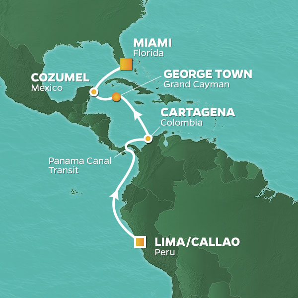 Miami to South America map