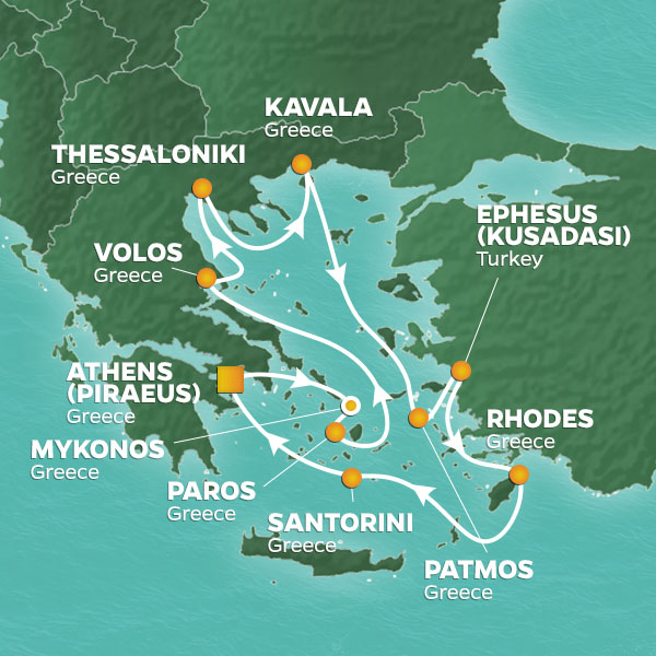 Greece Intensive cruise itinerary map, with various stops throughout Greece and Turkey