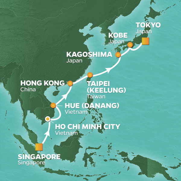 Azamara Cruises | 15-Nights from Singapore to Tokyo Cruise Iinerary Map