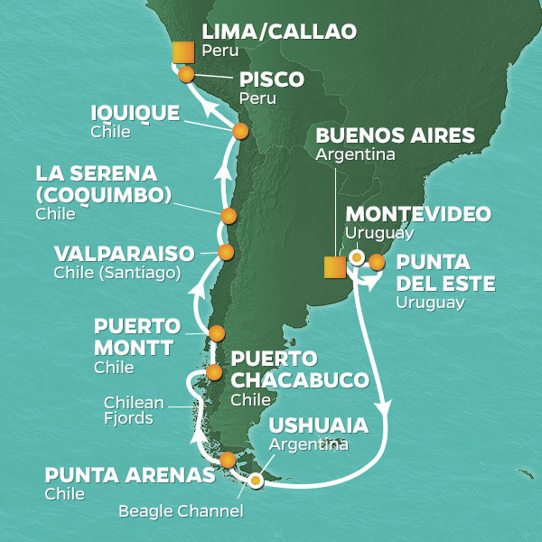 Azamara Cruises | 21-Nights from Buenos Aires to Lima Cruise Iinerary Map
