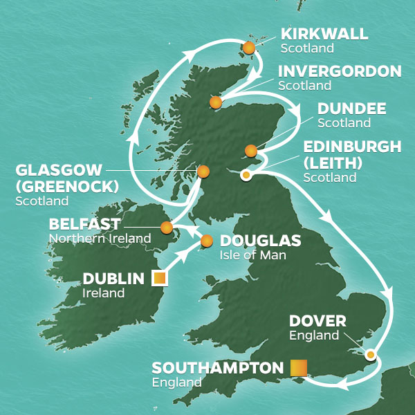 Azamara Cruises | 14-Nights from Dublin to Southampton Cruise Iinerary Map