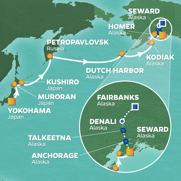 Crossing Voyage cruise itinerary map, from Japan to Alaska