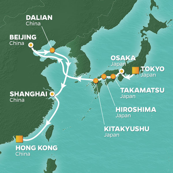 Japan and China in Autumn cruise itinerary map, from Tokyo to Hong Kong