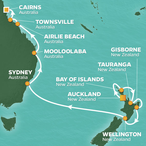 New Zealand and Australia cruise itinerary map, from Auckland to Cairns