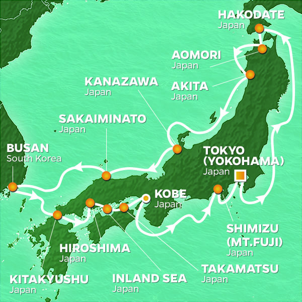 Image result for azamara 15 day japan intensive map