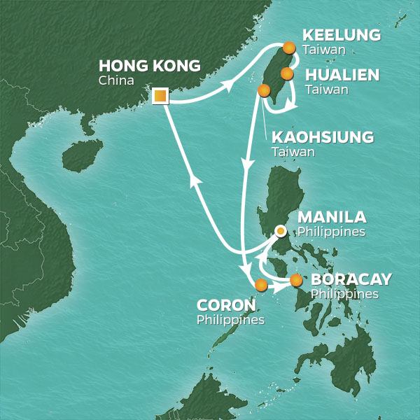 Philippines and China cruise itinerary map, from Hong Kong to Manila
