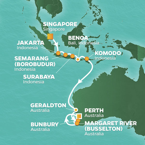 Java Sea and Western Australia cruise itinerary map, from Singapore to Perth