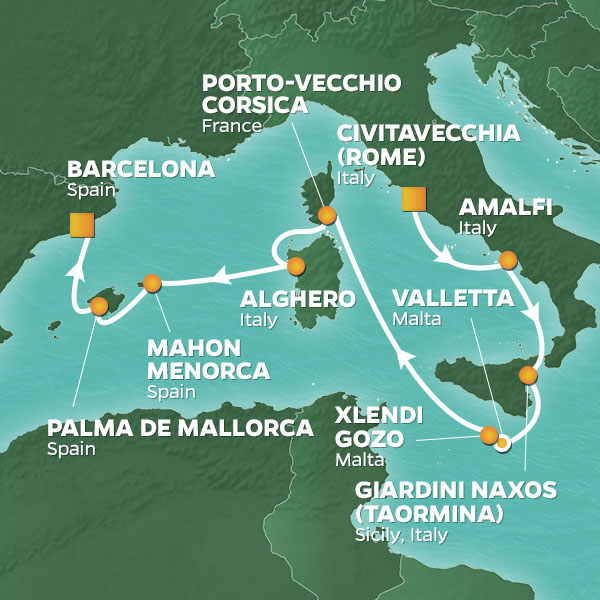 Islands of the Western Mediterranean cruise itinerary map, Rome to Barcelona