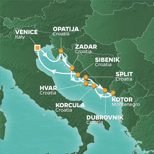 Azamara Cruises | 10-Nights Roundtrip from Venice Cruise Iinerary Map