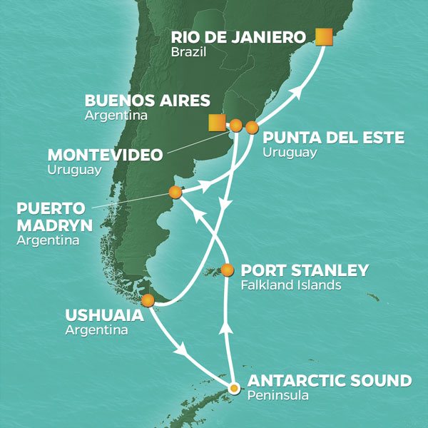 Map of voyage route