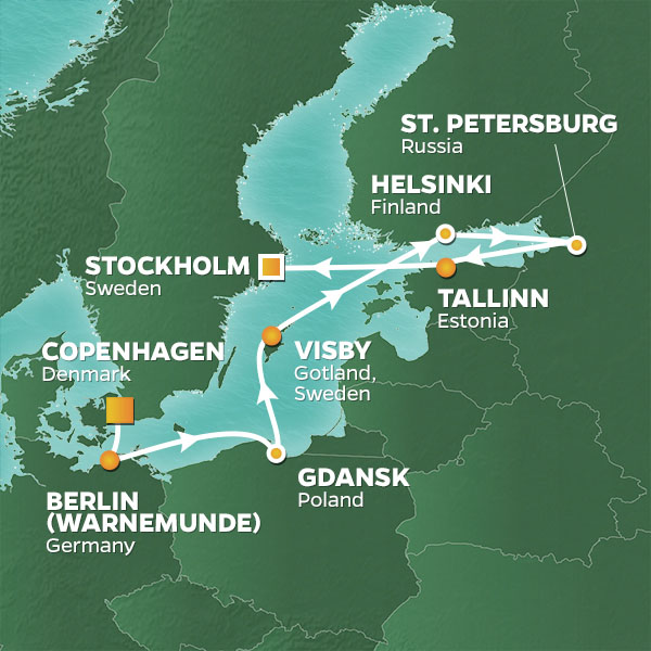 Azamara Cruises | 12-Nights from Copenhagen to Stockholm Cruise Iinerary Map