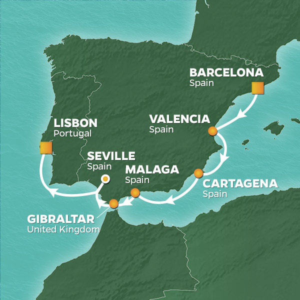Azamara Cruises | 8-Nights from Barcelona to Lisbon Cruise Iinerary Map
