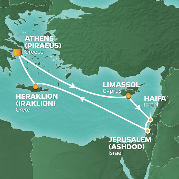 Azamara Cruises | 9-Nights Roundtrip from Athens Cruise Iinerary Map