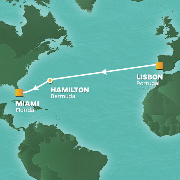 Azamara Cruises | 12-Nights from Lisbon to Miami Cruise Iinerary Map