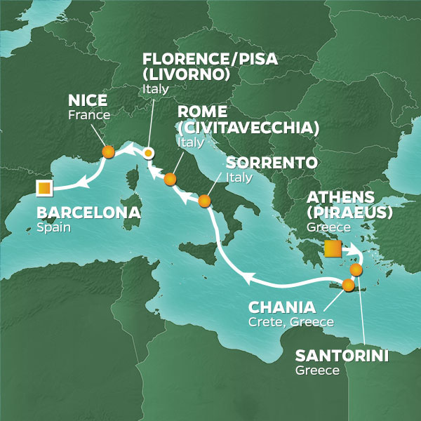 Azamara Cruises | 10-Nights from Athens to Barcelona Cruise Iinerary Map
