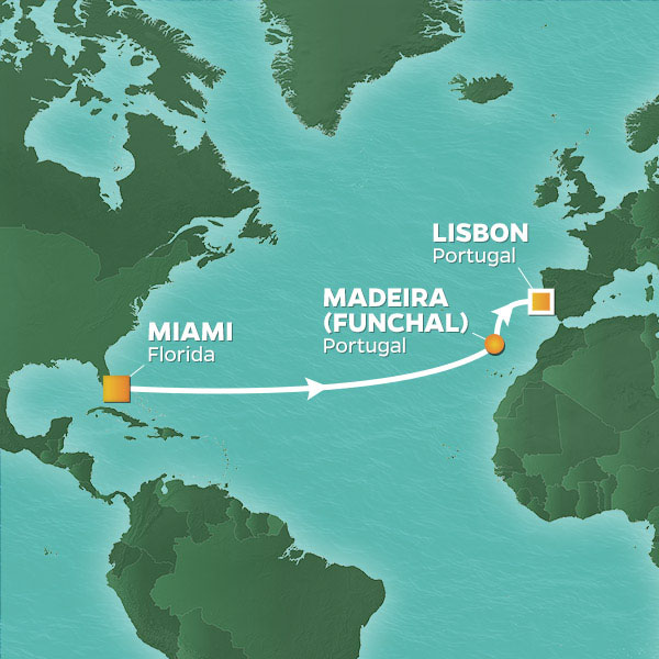 Azamara Cruises | 12-Nights from Miami to Lisbon Cruise Iinerary Map