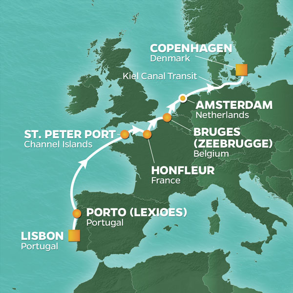 Azamara Cruises | 9-Nights from Lisbon to Copenhagen Cruise Iinerary Map
